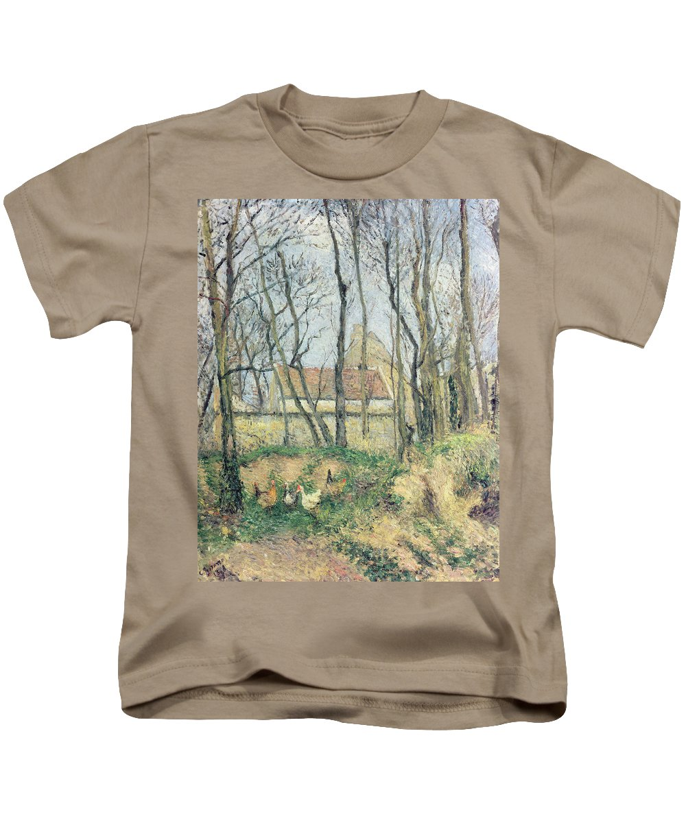 Le Sentier Des Pouilleux Kids T-Shirt featuring the painting The Path Of The Wretched by Camille Pissarro