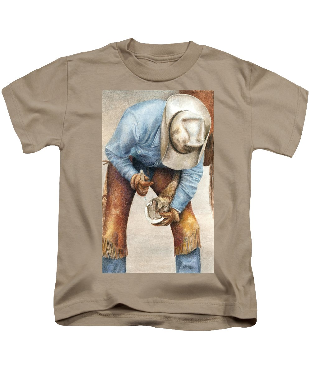 Western Kids T-Shirt featuring the painting The Pedicure by Pat Erickson