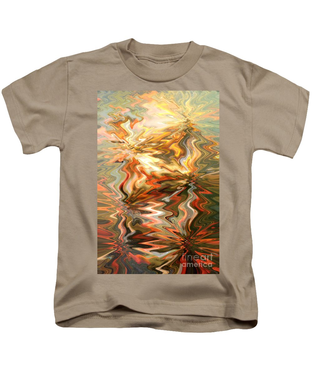 Abstract Kids T-Shirt featuring the photograph Gray And Orange Peaceful Abstract Art by Carol Groenen