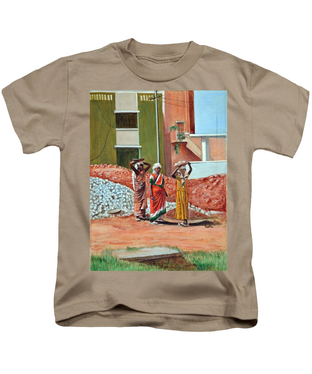 Real Kids T-Shirt featuring the painting The Real Home Makers by Usha Shantharam