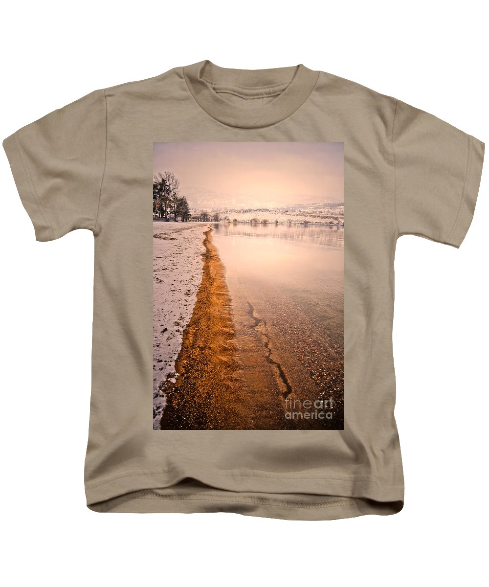 Winter Kids T-Shirt featuring the photograph The Shore In Winter by Tara Turner