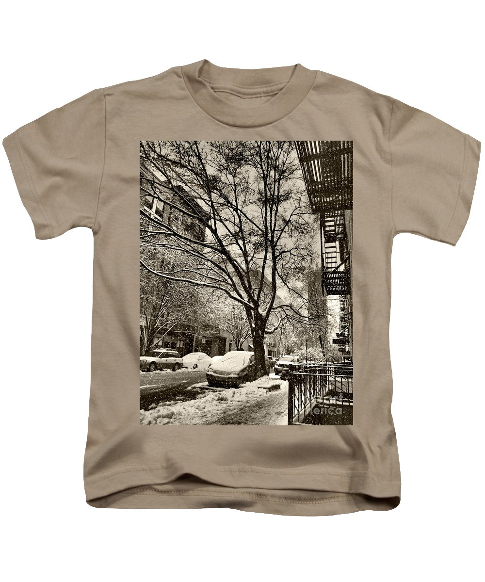 Winter Kids T-Shirt featuring the photograph The Snow Tree - Sepia Antique Look by Miriam Danar