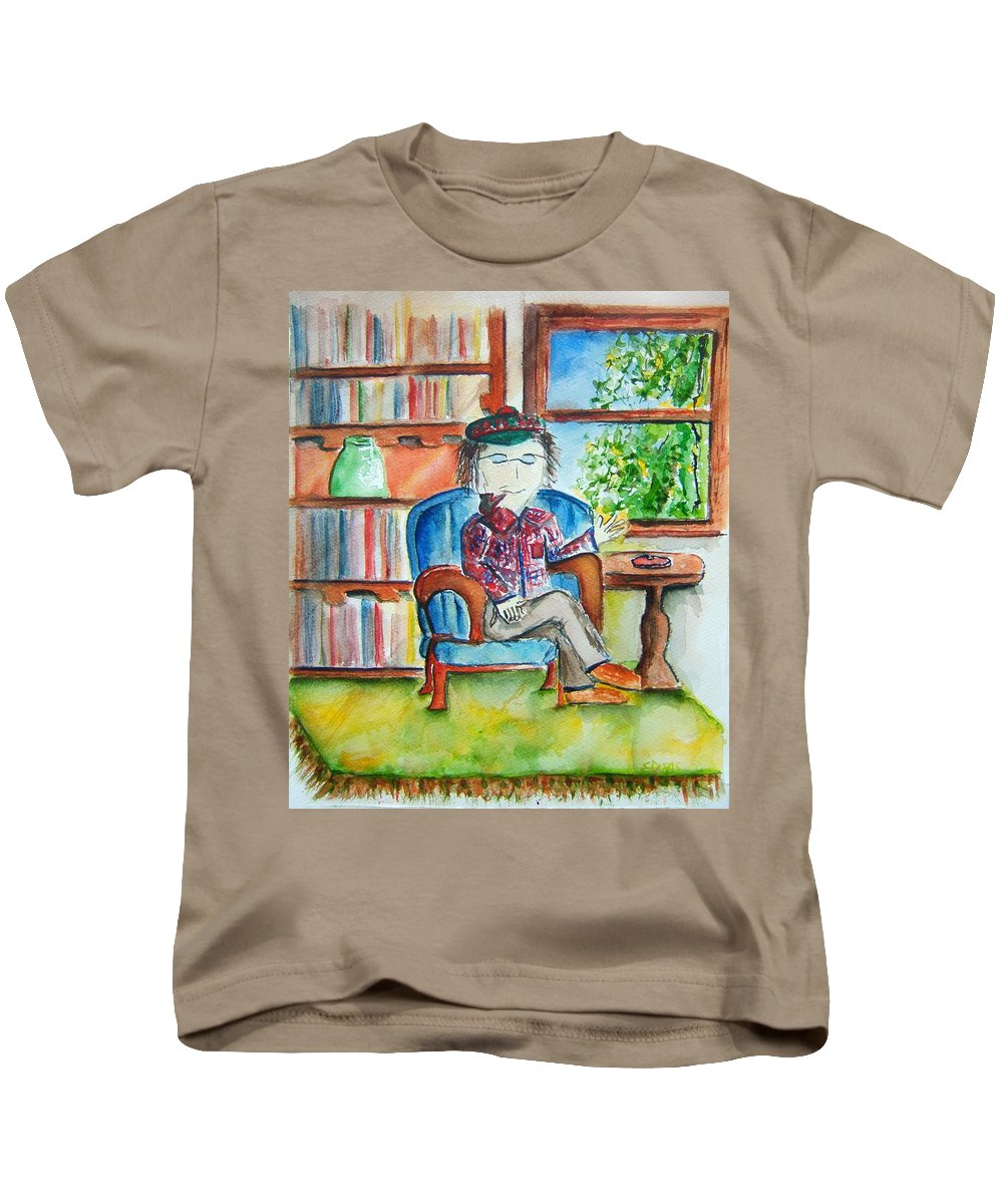 Storyteller Kids T-Shirt featuring the painting The Storyteller by Elaine Duras