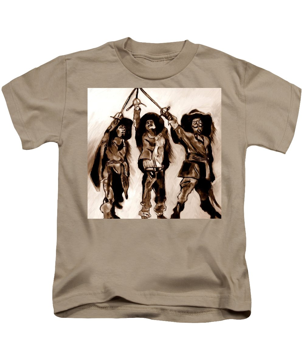 The Three Musketeers Kids T-Shirt featuring the drawing The Three Musketeers by Herbert Renard