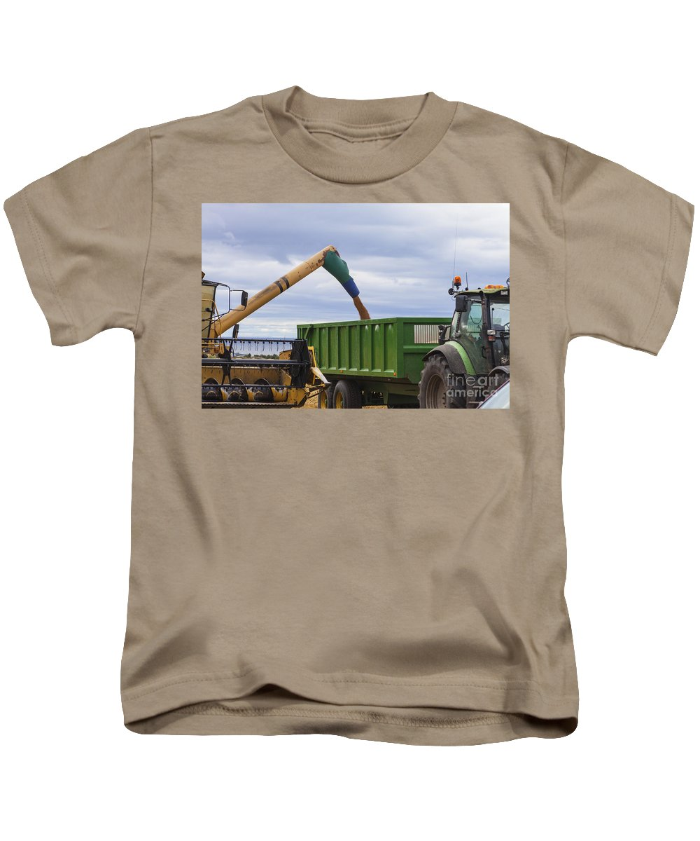 Barley Kids T-Shirt featuring the photograph Threshing The Barley by Diane Macdonald