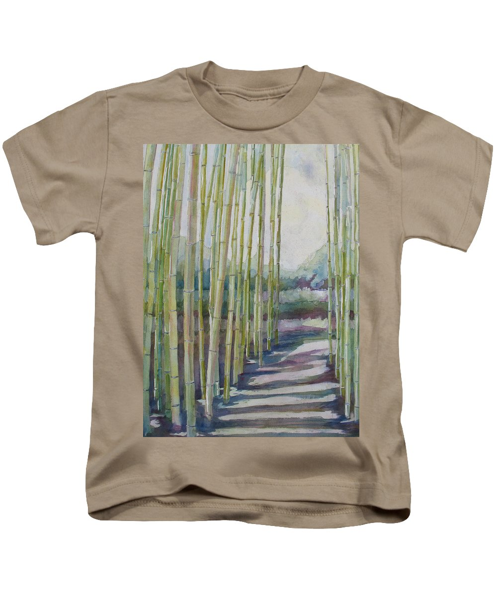 Bamboo Kids T-Shirt featuring the painting Through The Bamboo Grove by Jenny Armitage