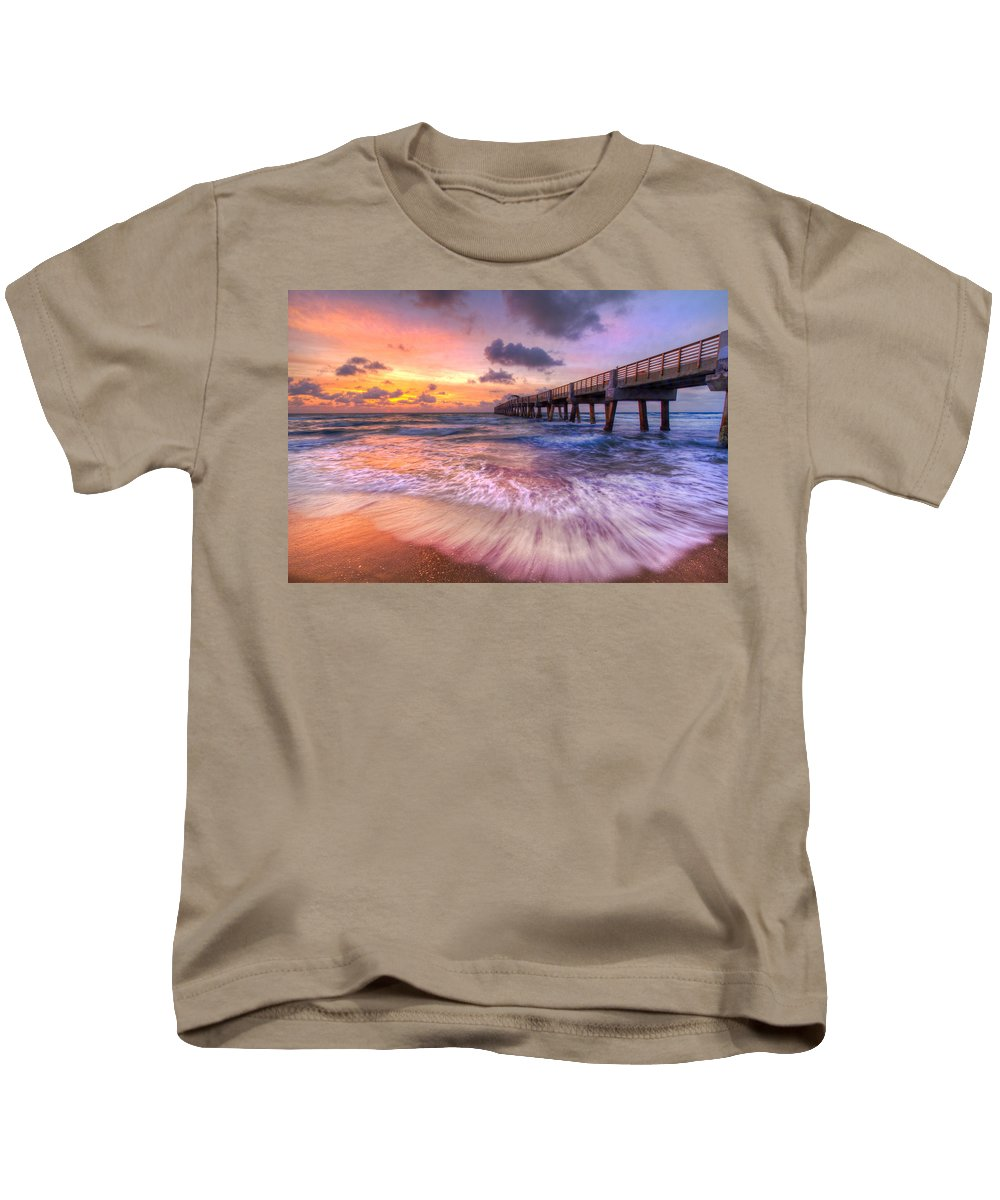 Clouds Kids T-Shirt featuring the photograph Tidal Lace by Debra and Dave Vanderlaan