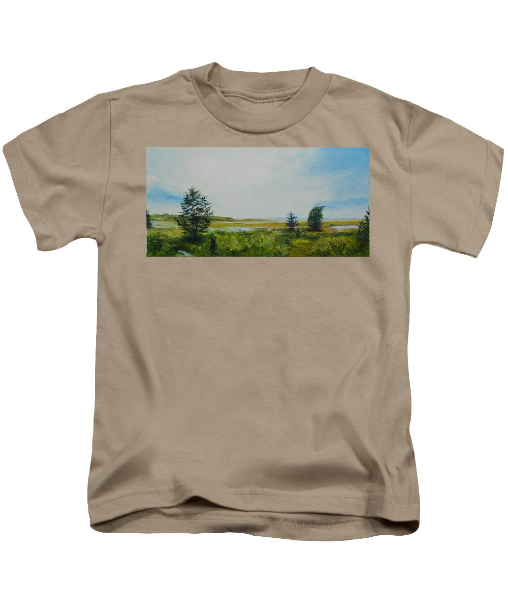 Water Kids T-Shirt featuring the painting Tidal Plains by Susan Hanna