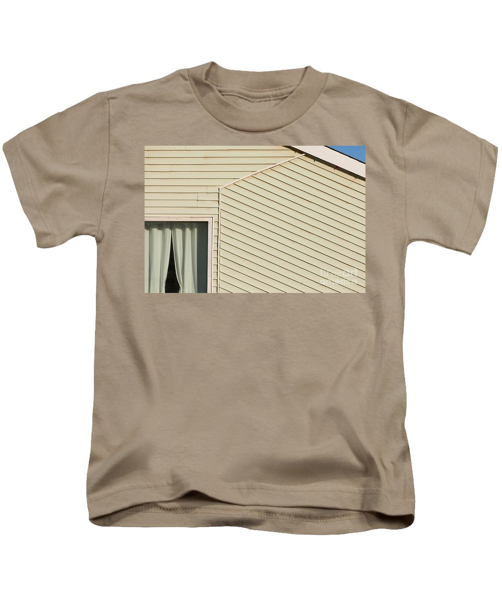 Abstract Kids T-Shirt featuring the photograph Timber Clad Building Facade Architecture Abstract by Stephan Pietzko