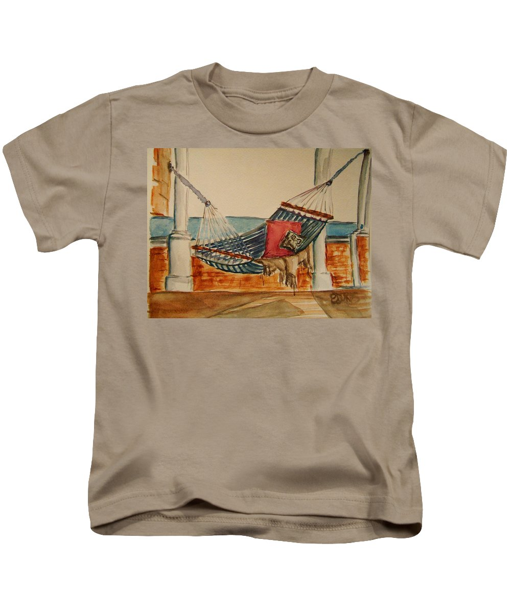 Hammock Kids T-Shirt featuring the painting Time Out by Elaine Duras