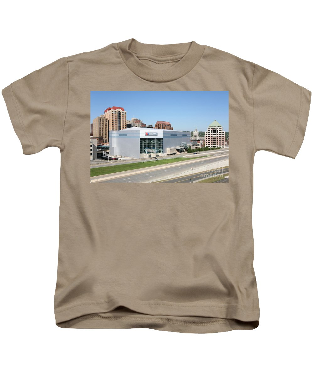 New York Kids T-Shirt featuring the photograph Times Union Center by Bill Cobb
