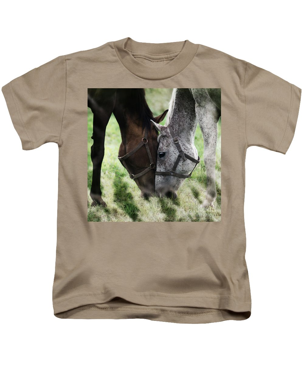 Horses Kids T-Shirt featuring the photograph Together by Angel Tarantella