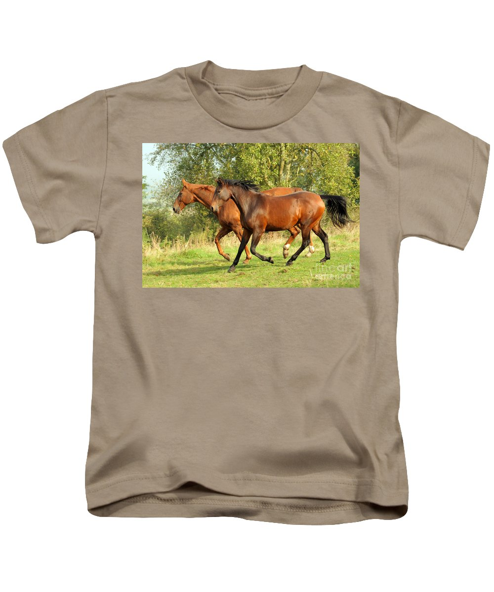Horse Kids T-Shirt featuring the photograph Together Now by Angel Ciesniarska