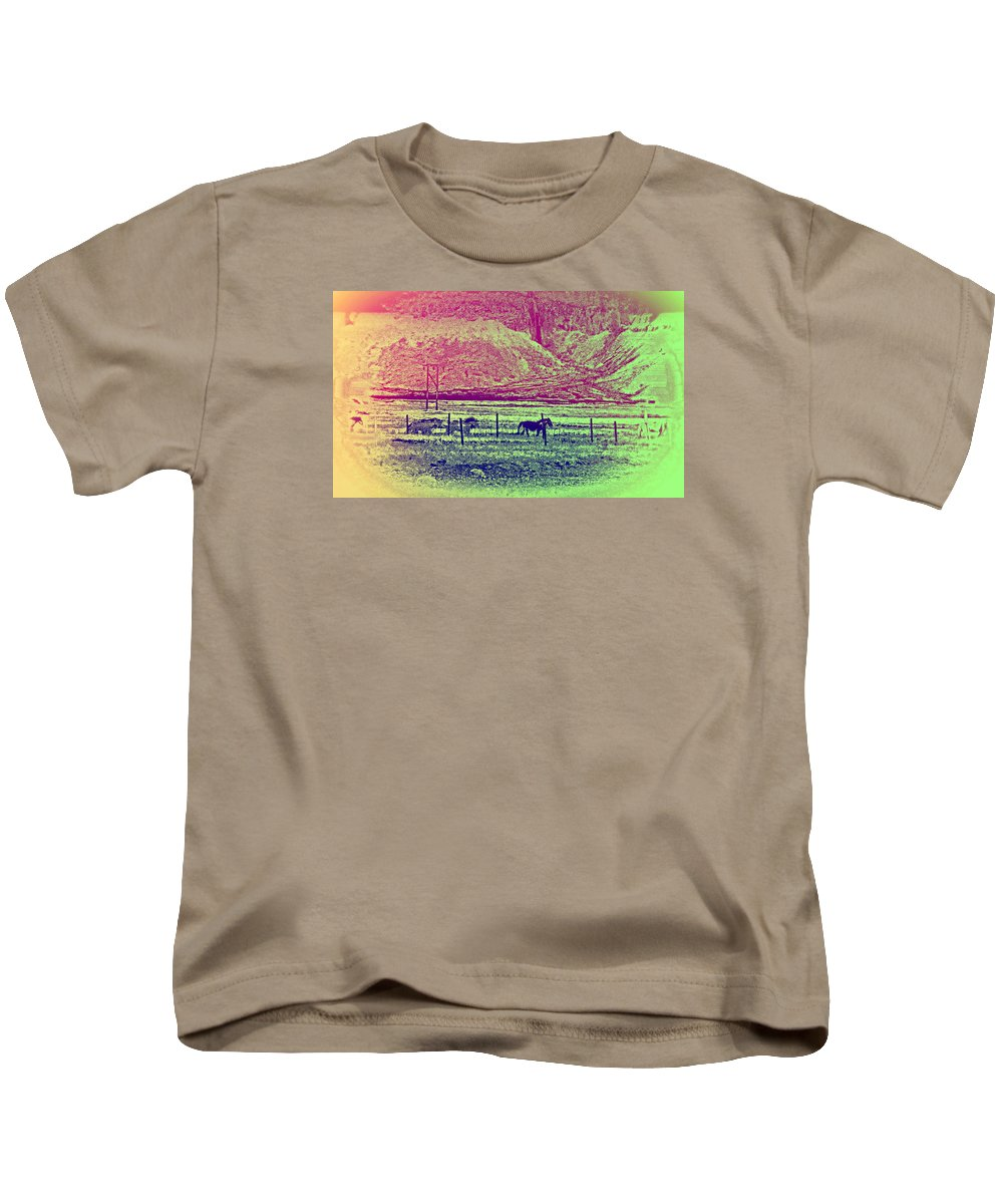 Horses Kids T-Shirt featuring the photograph Now And Then You Dream Of The Old Fields Back Home by Hilde Widerberg