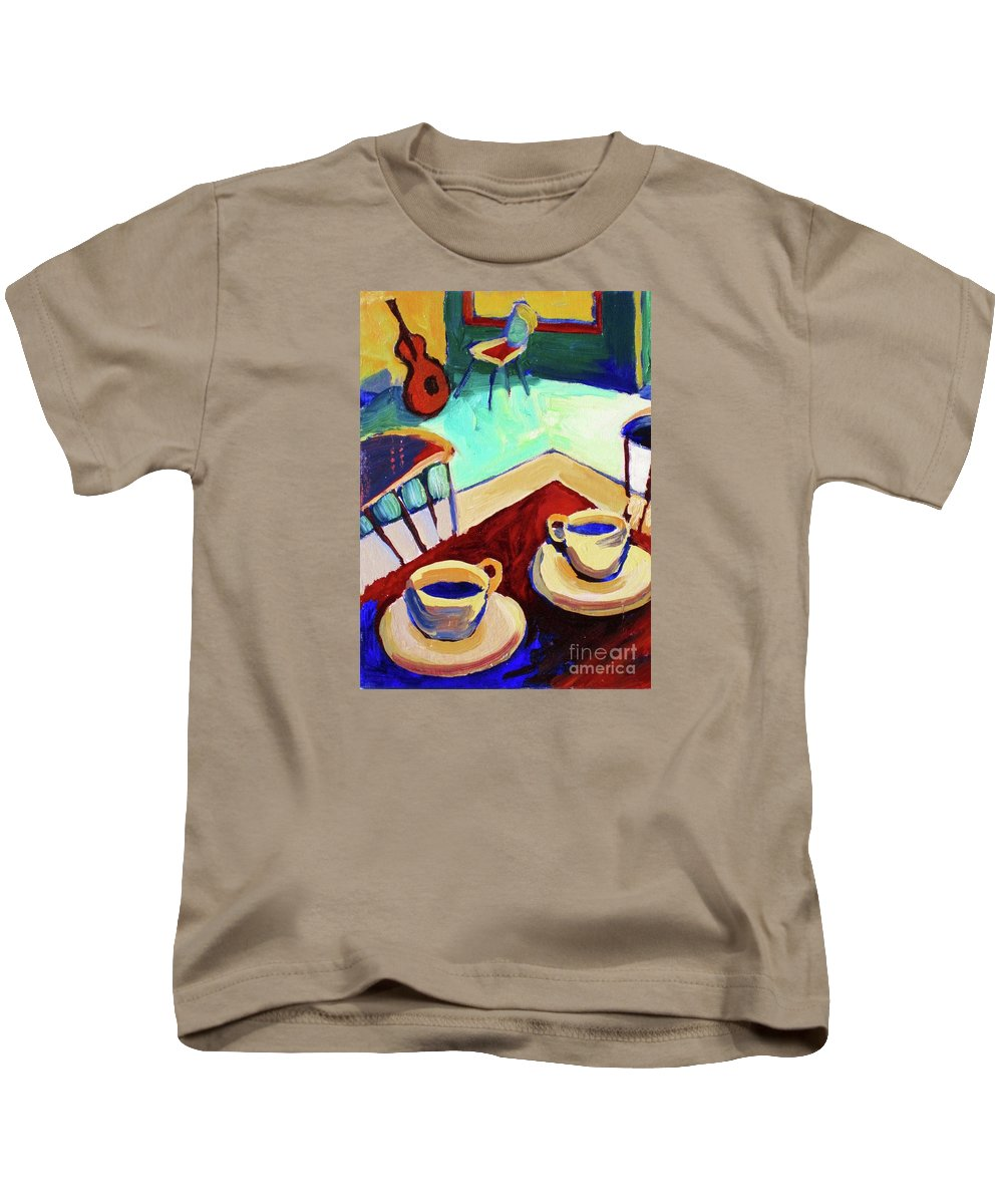 Frederick Luff Kids T-Shirt featuring the painting Twilight Coffee Cafe by Frederick Luff