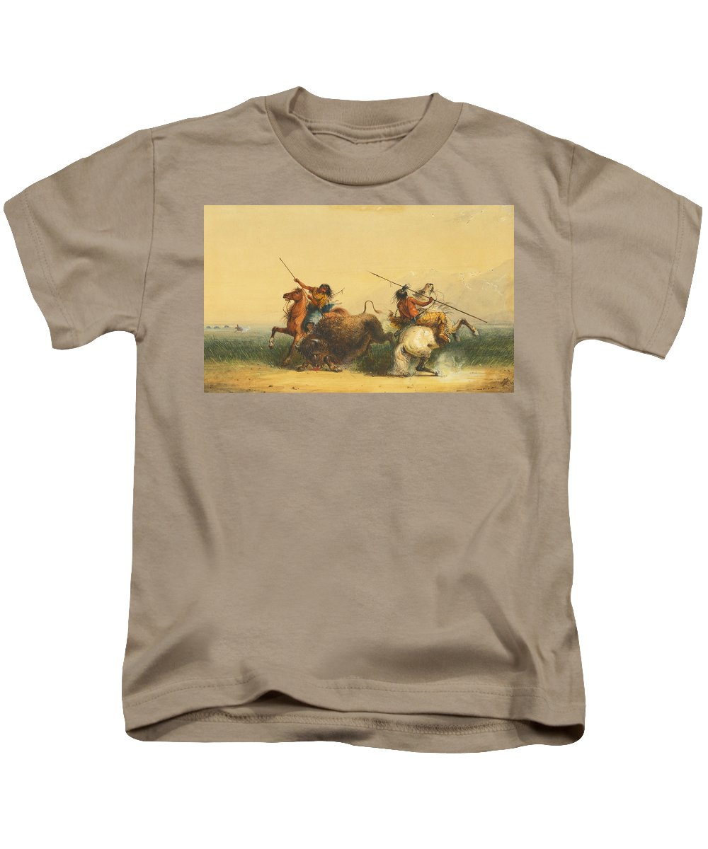 Alfred Jacob Miller Kids T-Shirt featuring the painting Two Indians Killing A Buffalo by Alfred Jacob Miller