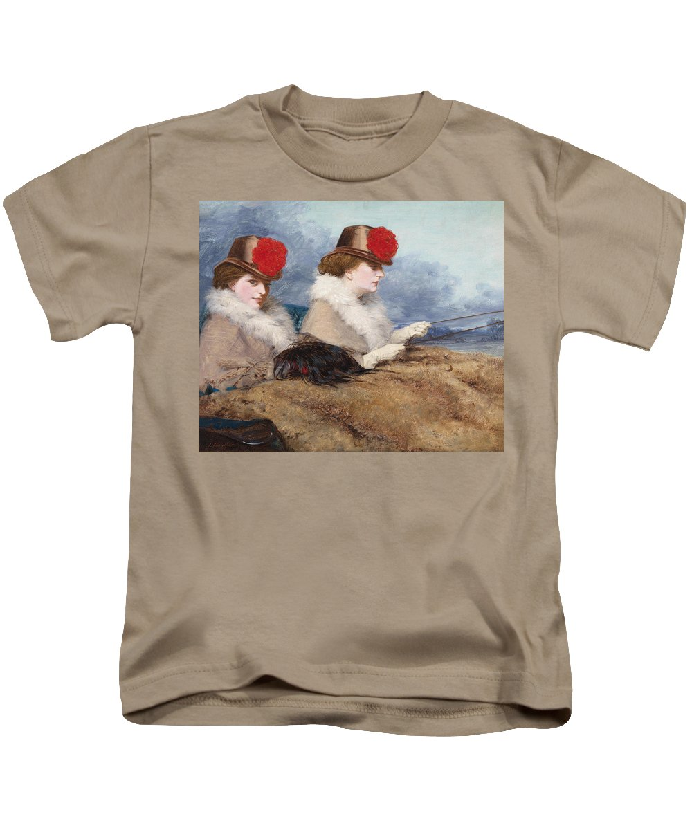James Hayllar Kids T-Shirt featuring the painting Two Ladies In A Carriage Ride by James Hayllar