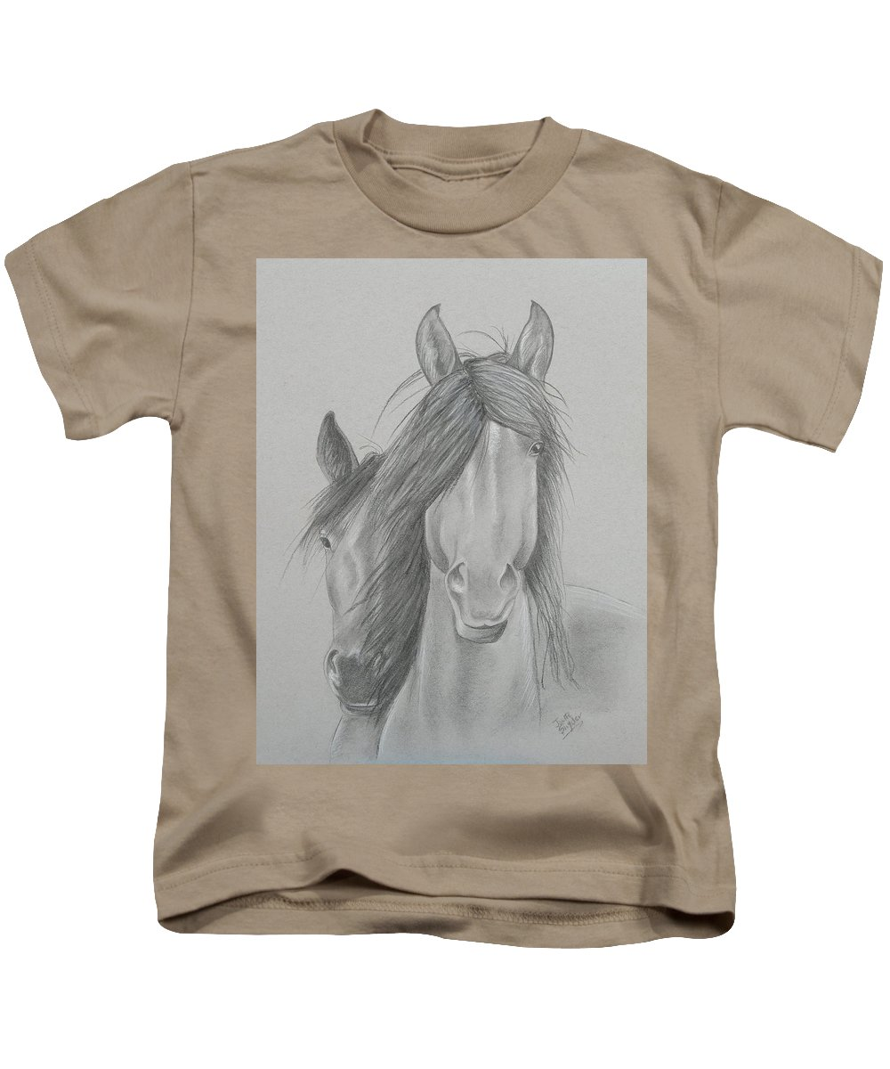 Charcoal Drawing Kids T-Shirt featuring the painting Two Wild Horses by Joette Snyder