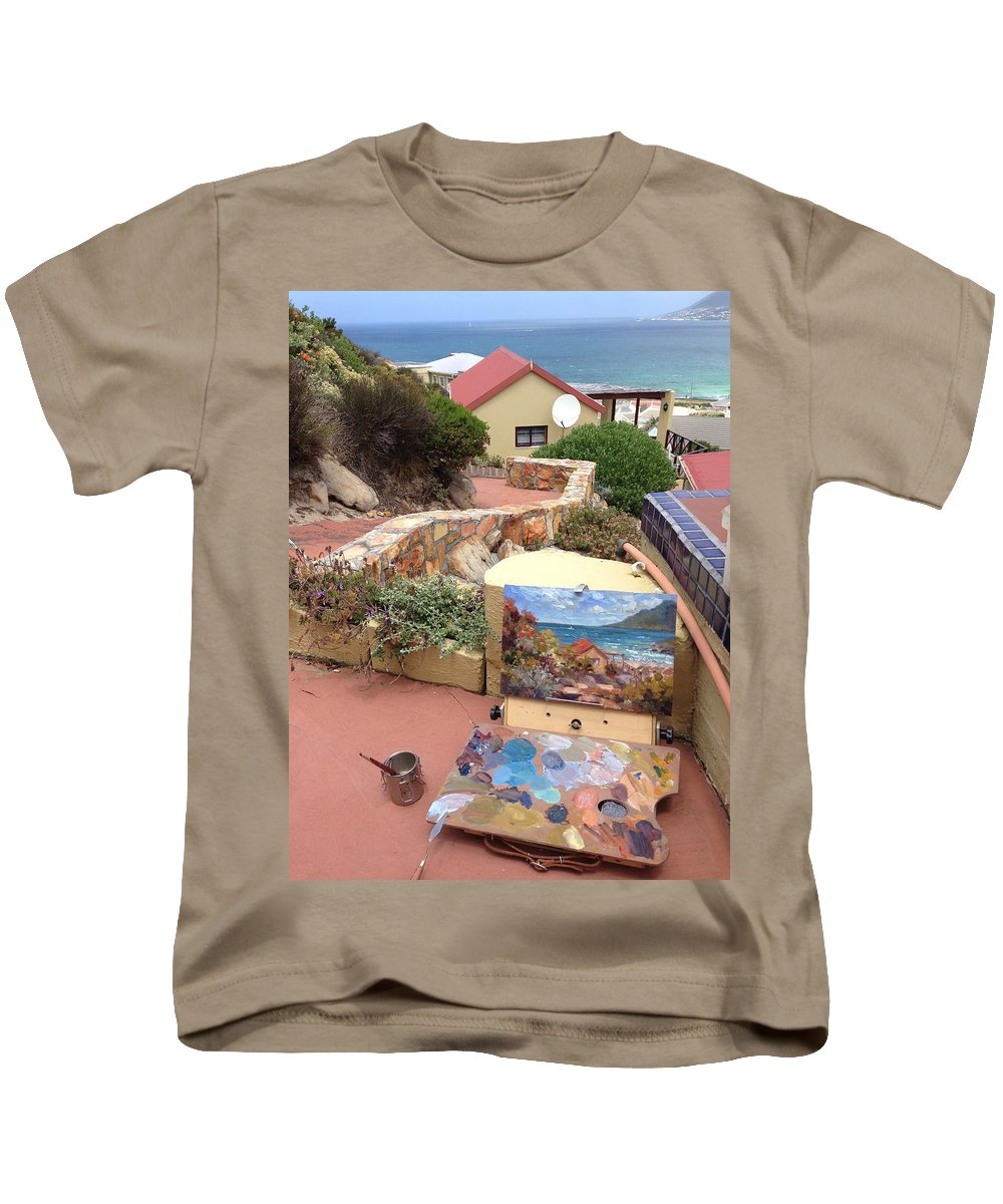 Kids T-Shirt featuring the painting Uitsig Cottage by Yvonne Ankerman