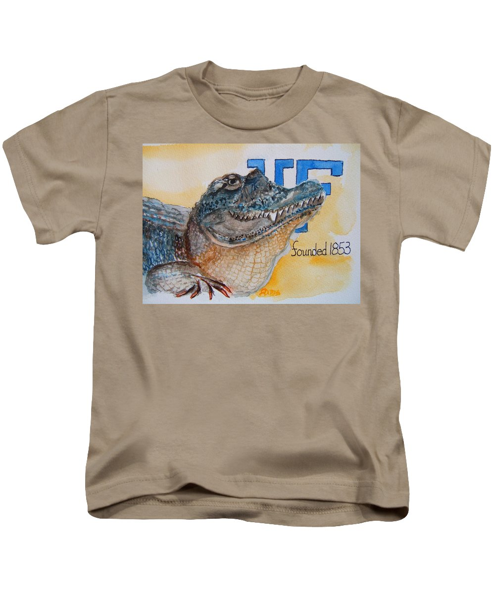 Florida Gator Kids T-Shirt featuring the painting University Of Florida by Elaine Duras
