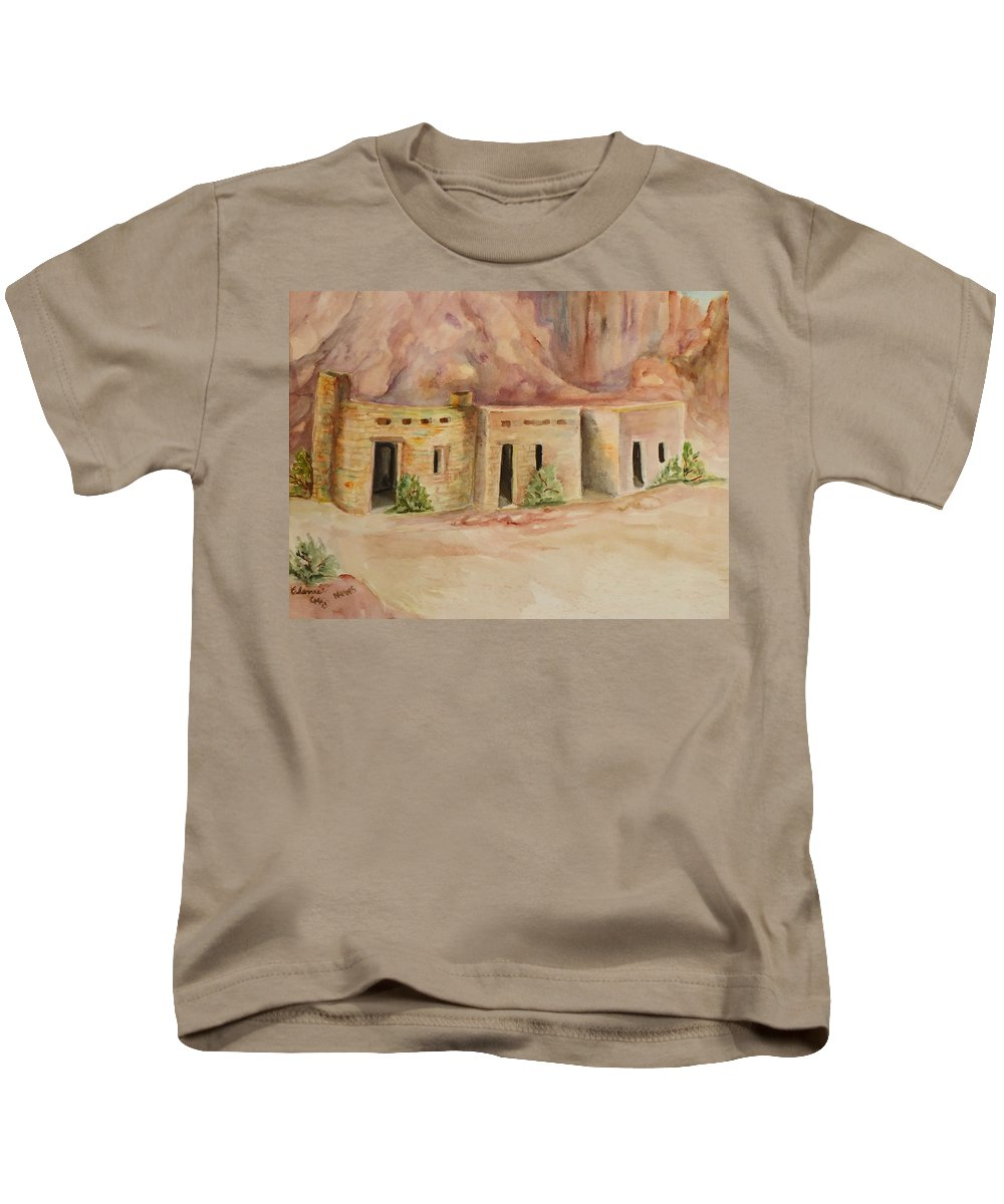 Oldest Man Made Structures In The Valley Of Fire Kids T-Shirt featuring the painting Valley Of Fire Cabins by Charme Curtin