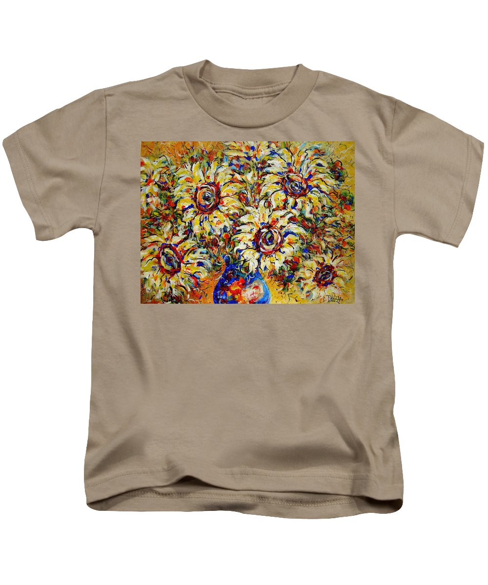 Flowers Kids T-Shirt featuring the painting Vibrant Sunflower Essence by Natalie Holland