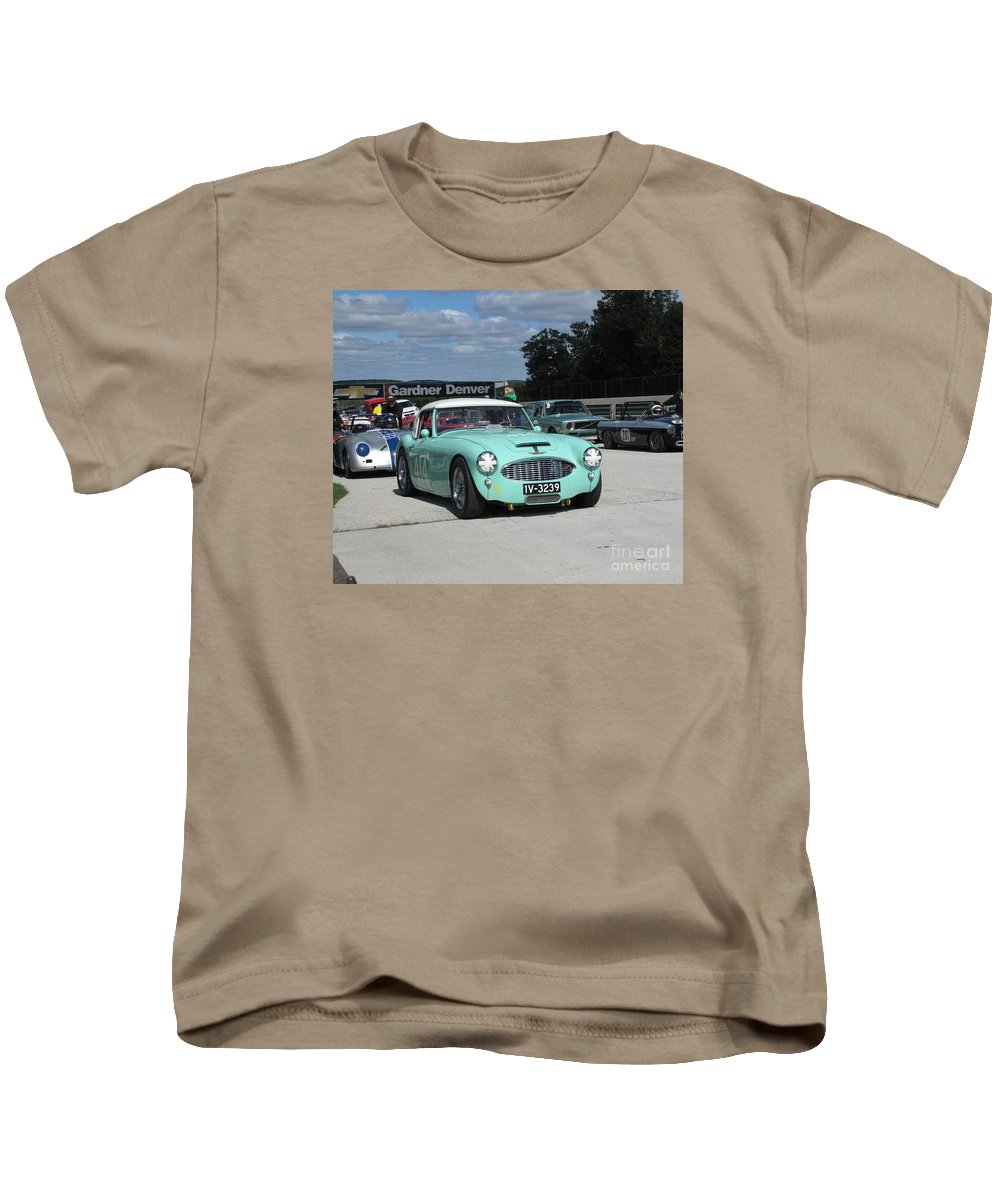Race Kids T-Shirt featuring the photograph Vintage Healey In Starting Grid by Neil Zimmerman