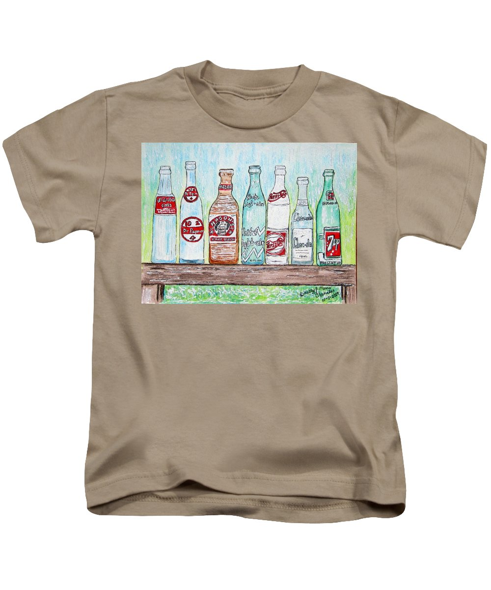 Vintage Kids T-Shirt featuring the painting Vintage Pop Bottles by Kathy Marrs Chandler