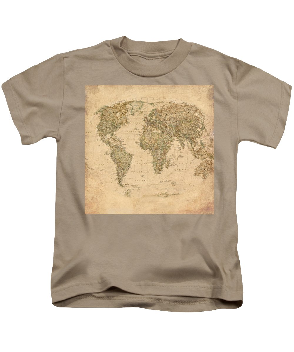 World Map Kids T-Shirt featuring the mixed media Vintage World Map by Gina Dsgn