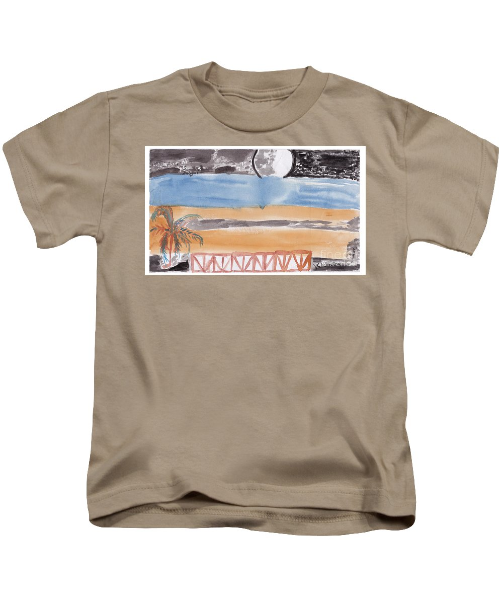 A Terrace That Looks Out Onto A Moonlit Night. Kids T-Shirt featuring the painting Volcanica by Douglas Friedman