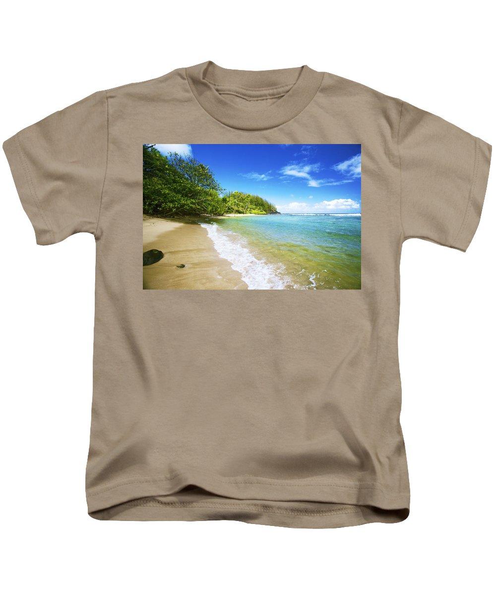 Beach Kids T-Shirt featuring the photograph Waikoko Beach Shore by Kicka Witte - Printscapes