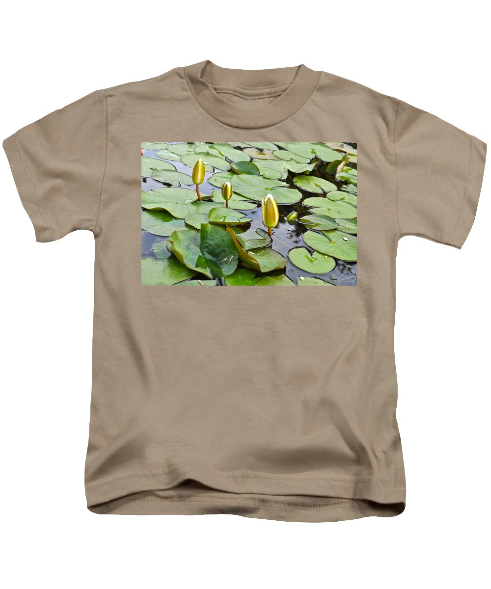 Flowers Kids T-Shirt featuring the photograph Water Lilies Aligned by Csilla Florida