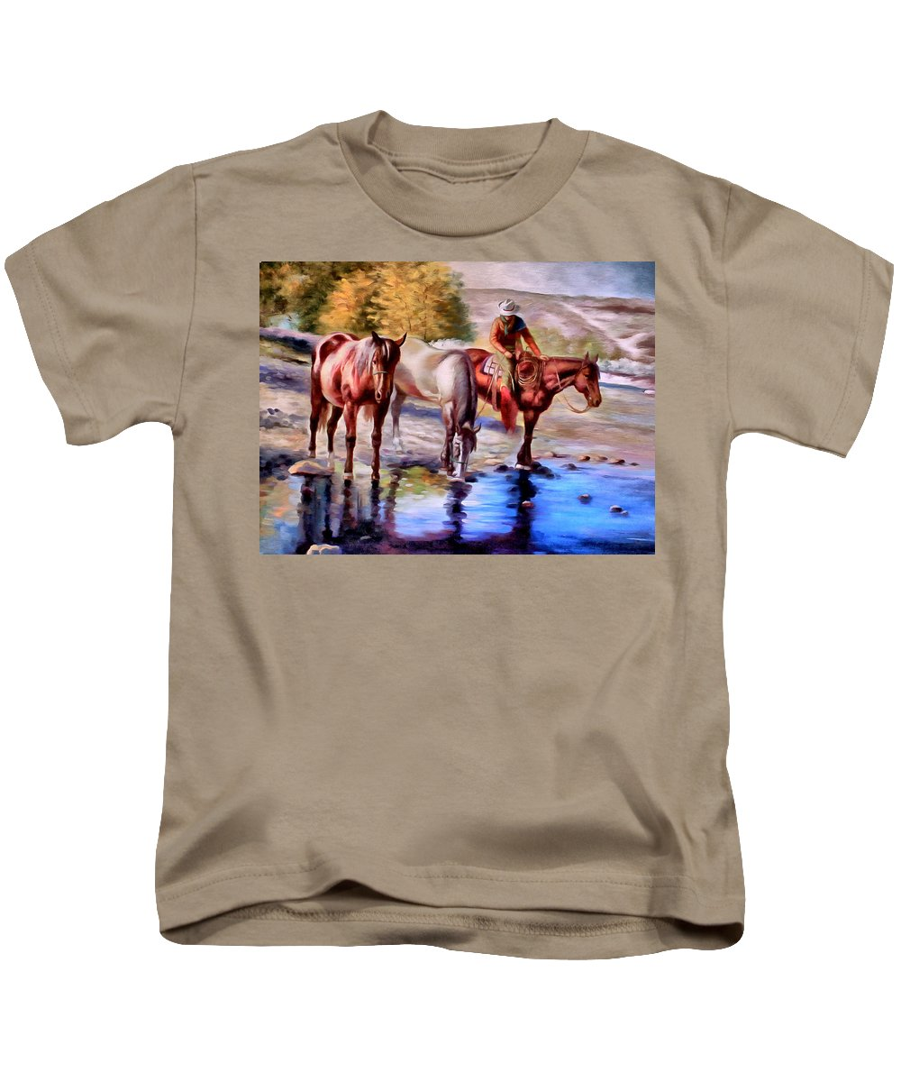 Western Kids T-Shirt featuring the painting Watering The Horses by Studio Artist
