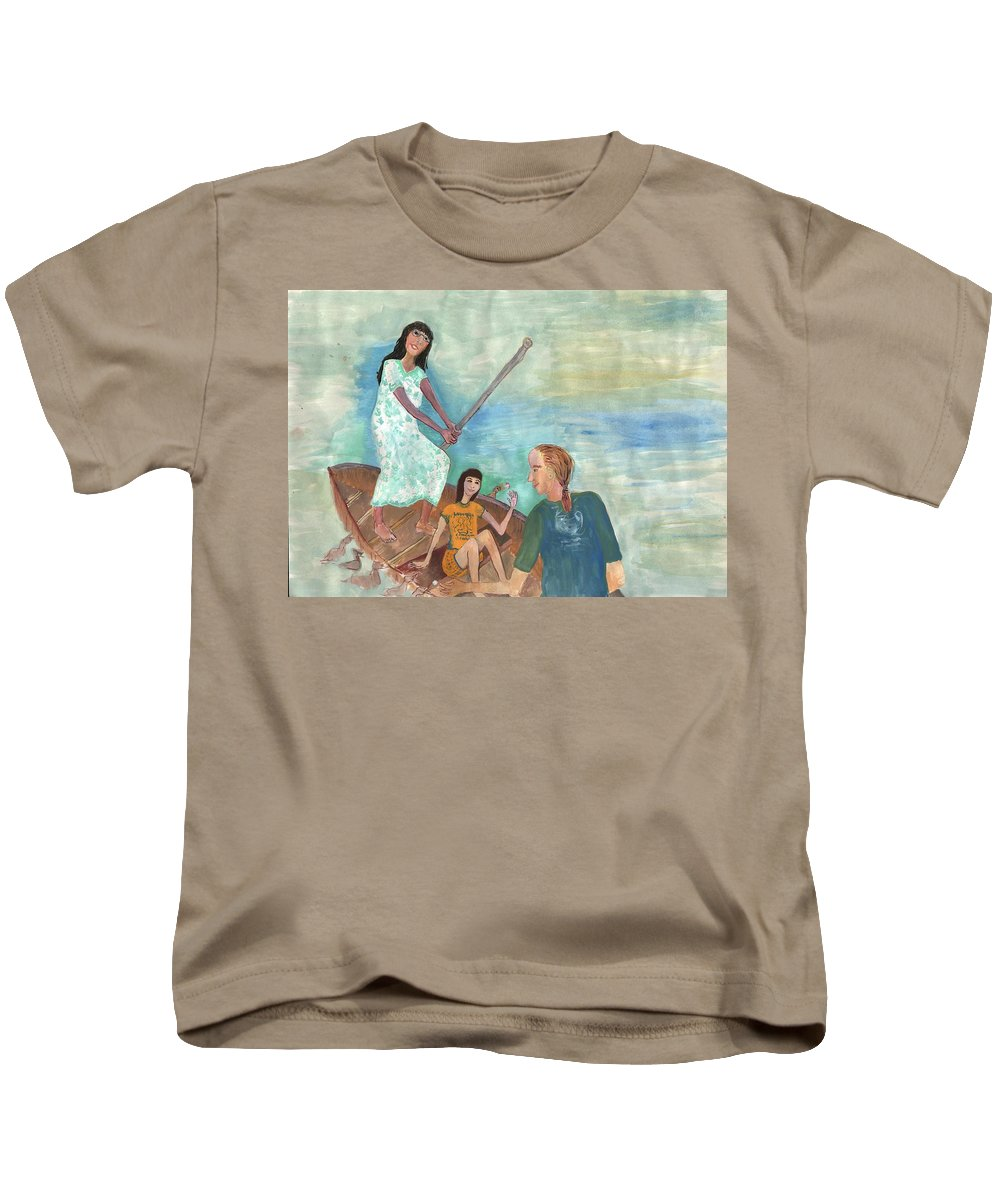 Punting Kids T-Shirt featuring the painting We All Went Punting In Progress by Sushila Burgess