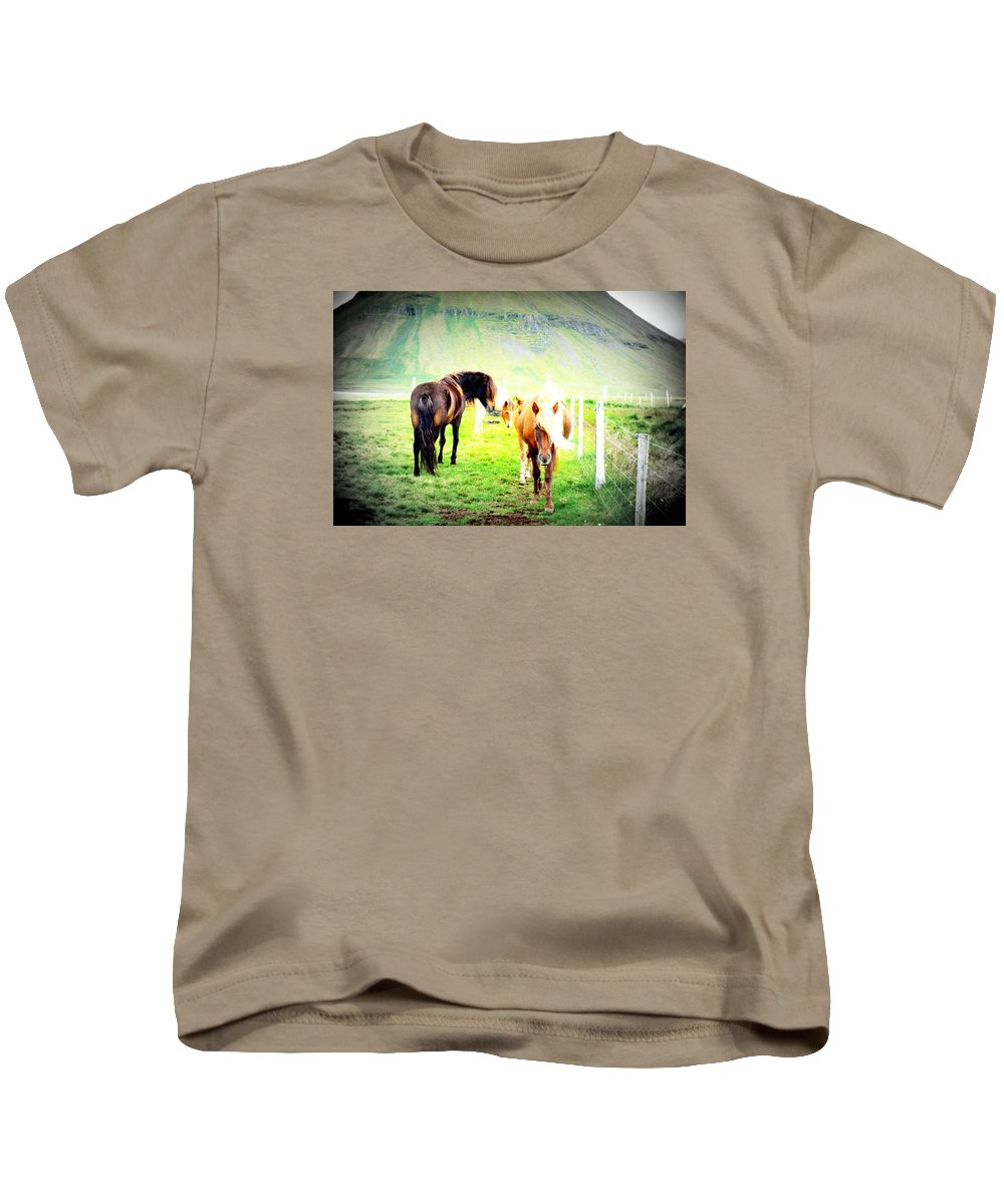 Iceland Kids T-Shirt featuring the photograph We Live Right Here Inside This Fence And Under This Big Mountain by Hilde Widerberg