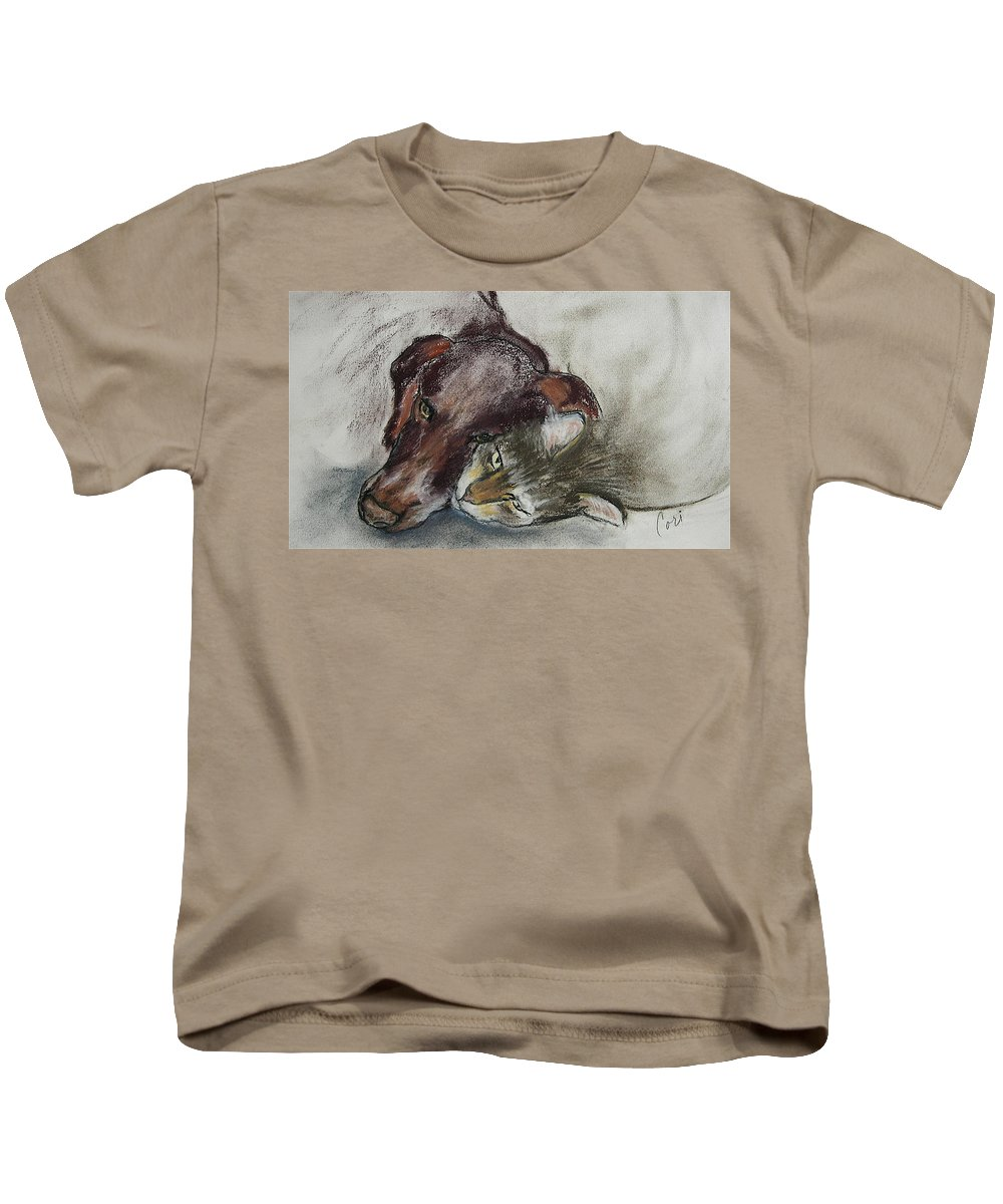Dog Kids T-Shirt featuring the drawing Whisker To Whisker by Cori Solomon