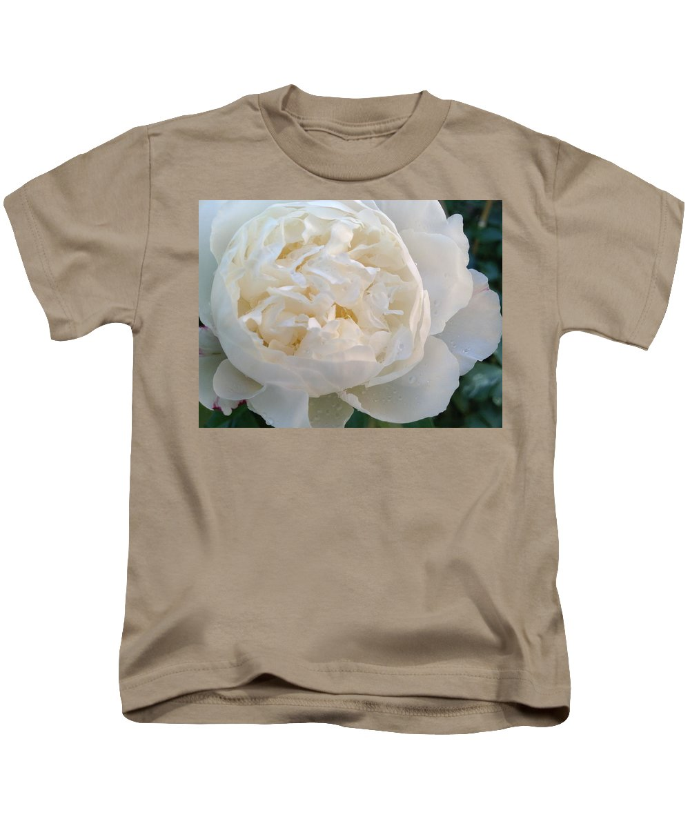 White Kids T-Shirt featuring the photograph White Peony by Pema Hou