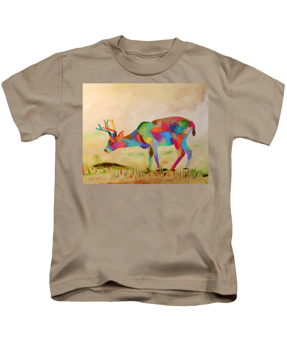 Oil On Canvas By Arturo Garcia Kids T-Shirt featuring the painting White Tale Dear by Arturo Garcia