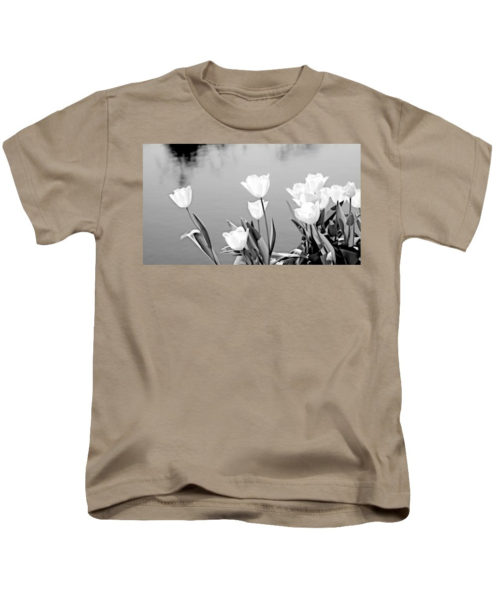 White Kids T-Shirt featuring the photograph White Tulips by Tina Meador
