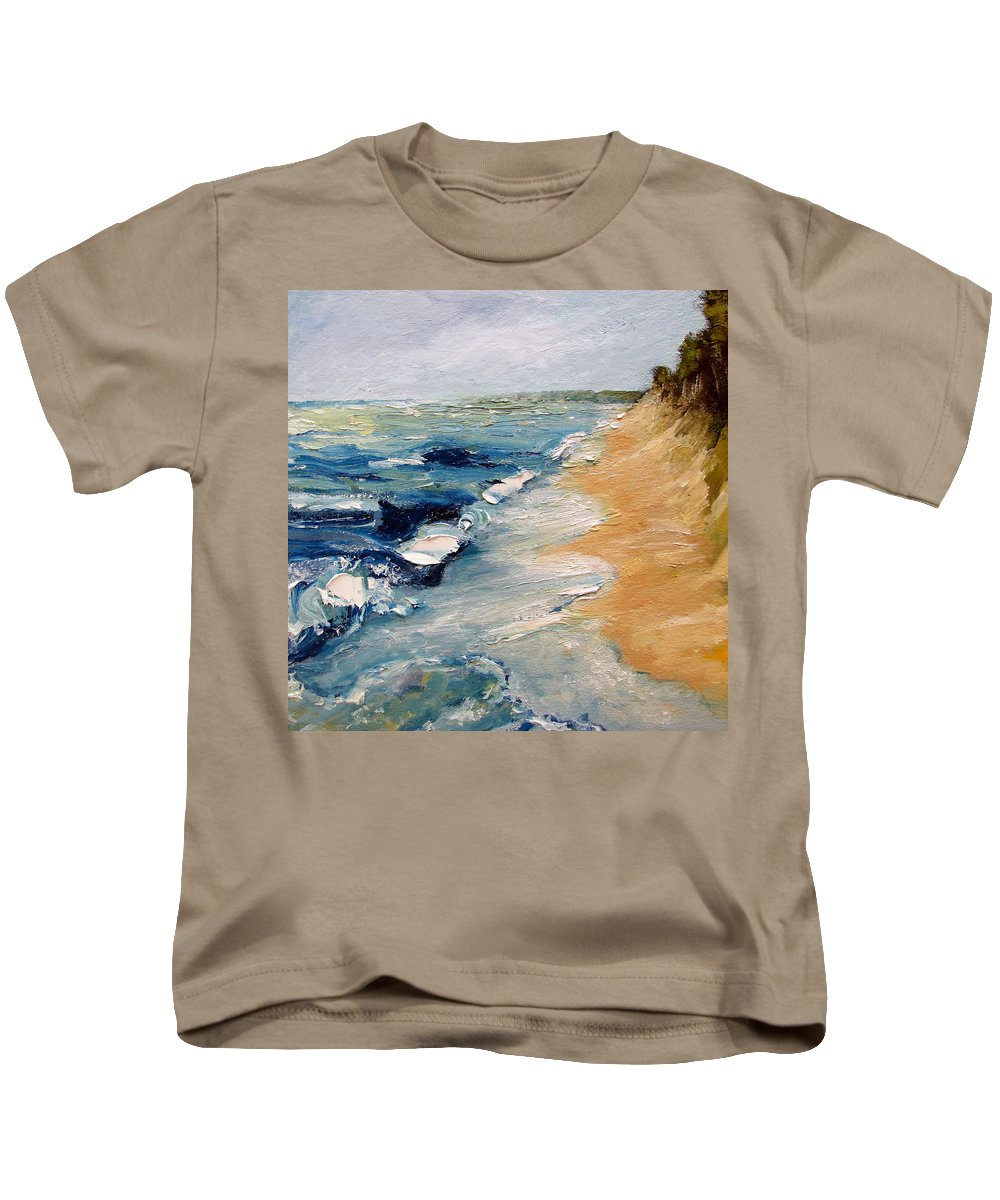 Whitecaps Kids T-Shirt featuring the painting Whitecaps On Lake Michigan 3.0 by Michelle Calkins