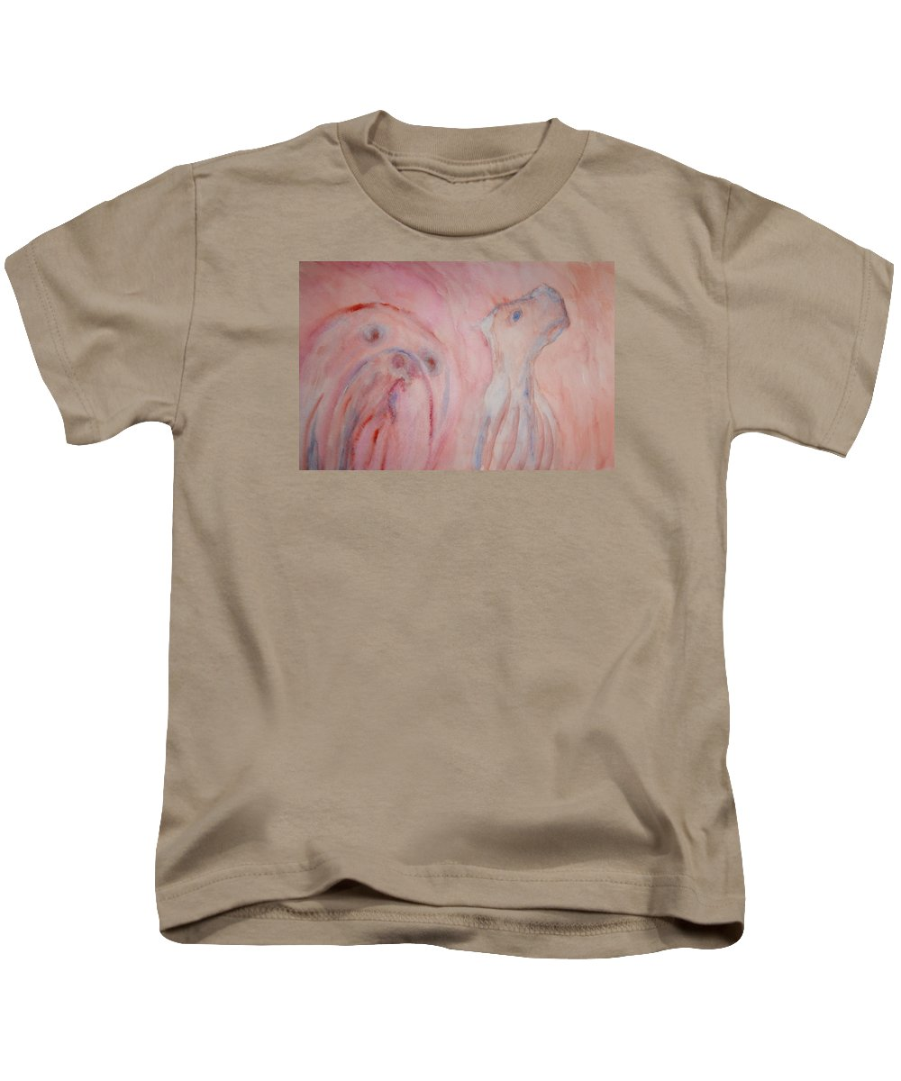 Dog Kids T-Shirt featuring the painting Will You Ever Understand Or Should I Rather Go Away And Look For Someone Else To Tell My Story To by Hilde Widerberg