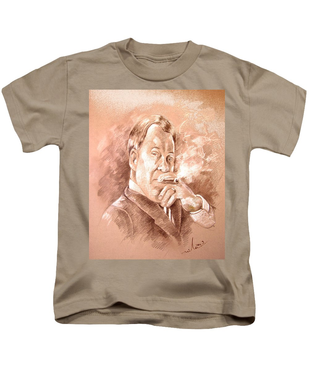 Portrait William Shatner Kids T-Shirt featuring the painting William Shatner As Denny Crane In Boston Legal by Miki De Goodaboom
