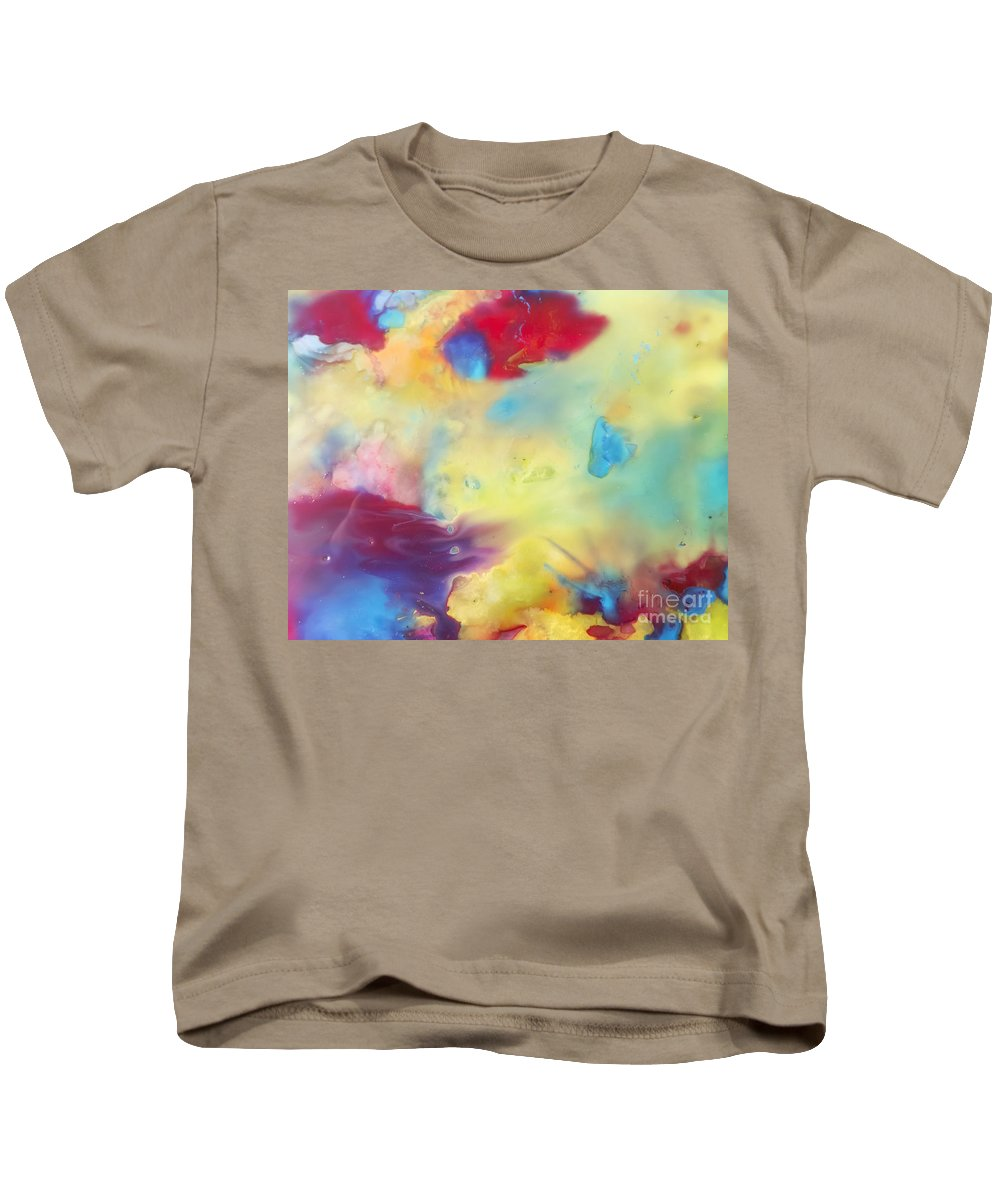 Abstract Kids T-Shirt featuring the painting Wind Abstract Painting by Justyna JBJart