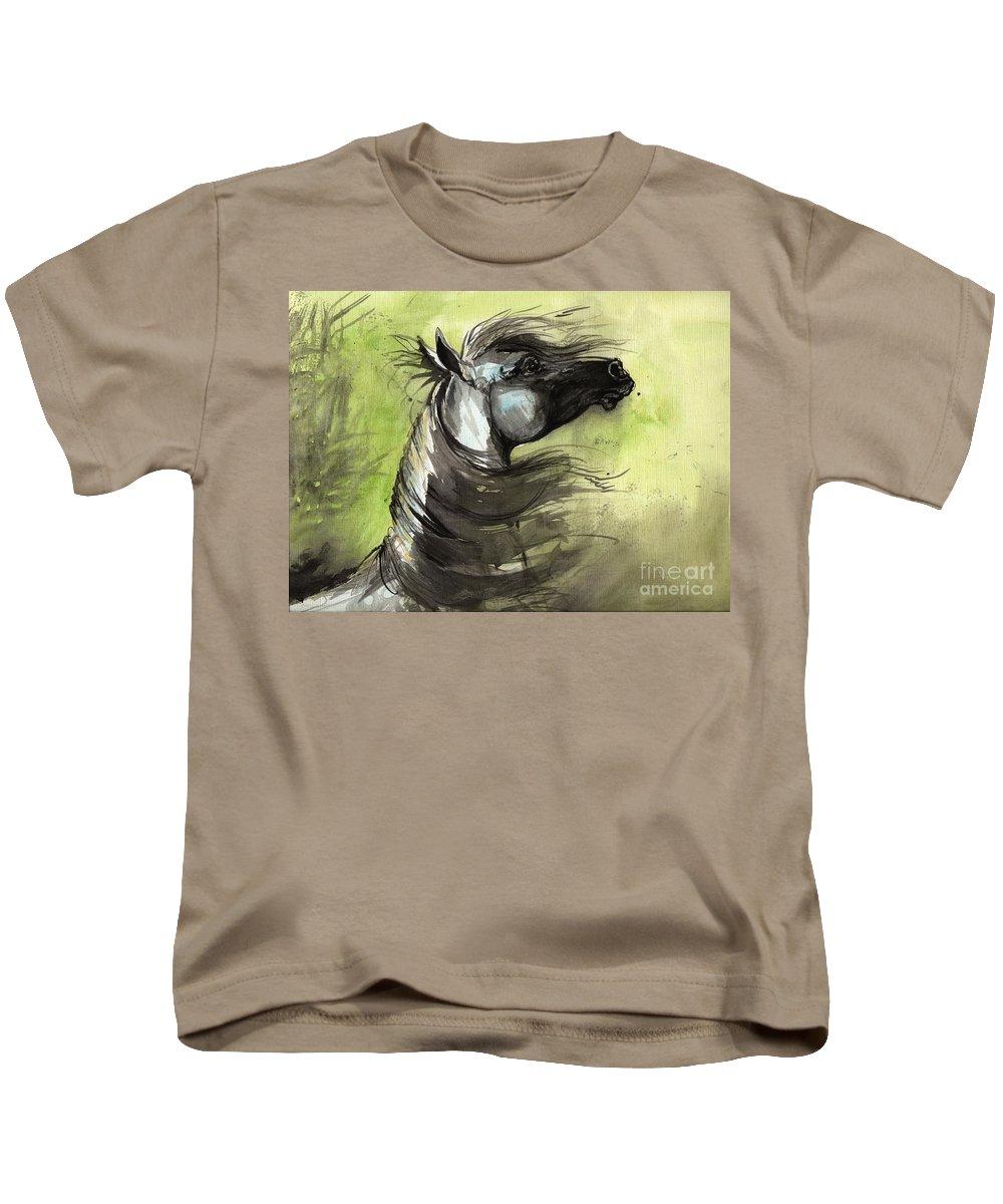 Arabian Horse Kids T-Shirt featuring the painting Wind In The Mane 3 by Angel Ciesniarska
