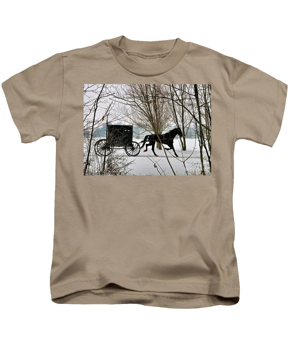 Winter Kids T-Shirt featuring the photograph Winter Buggy by David Arment