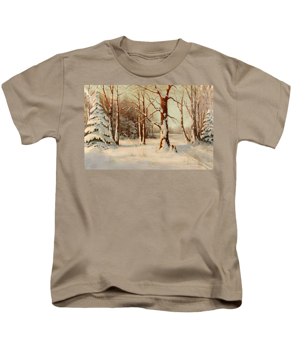 Landscape Kids T-Shirt featuring the painting Winter Dream by Mountain Dreams