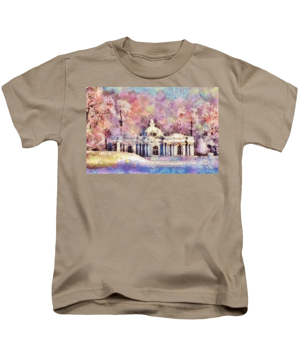Winter Manor Kids T-Shirt featuring the painting Winter Manor by Mo T