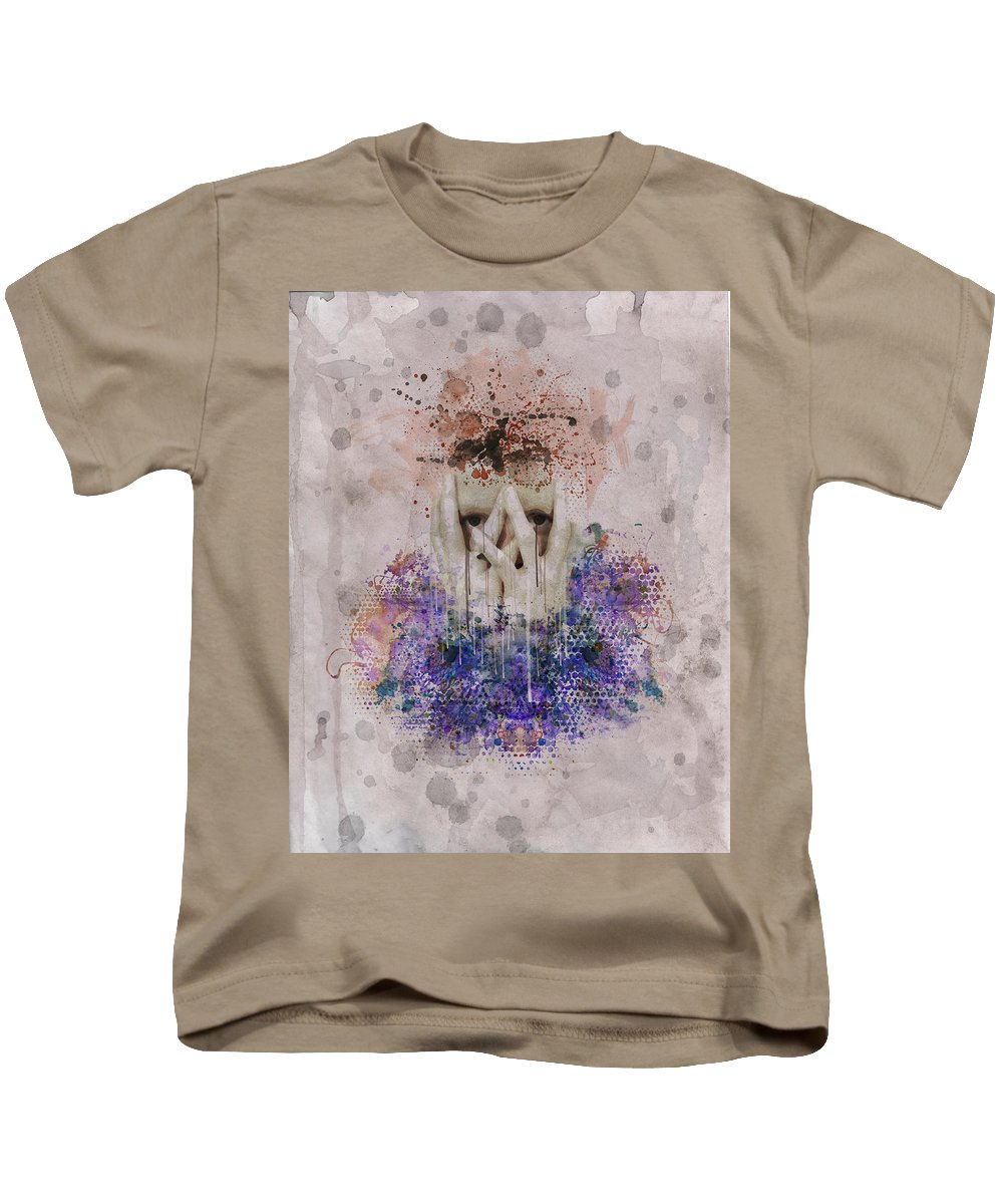 Mixed Media Kids T-Shirt featuring the photograph Woman Grunge Portrait Watercolor Paints by Andy Gimino