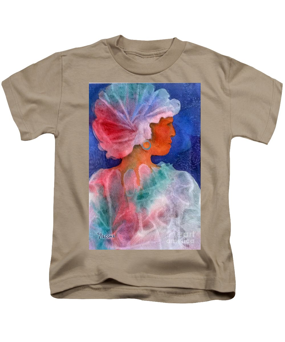 Woman Kids T-Shirt featuring the painting Woman In Turban by Teresa Ascone