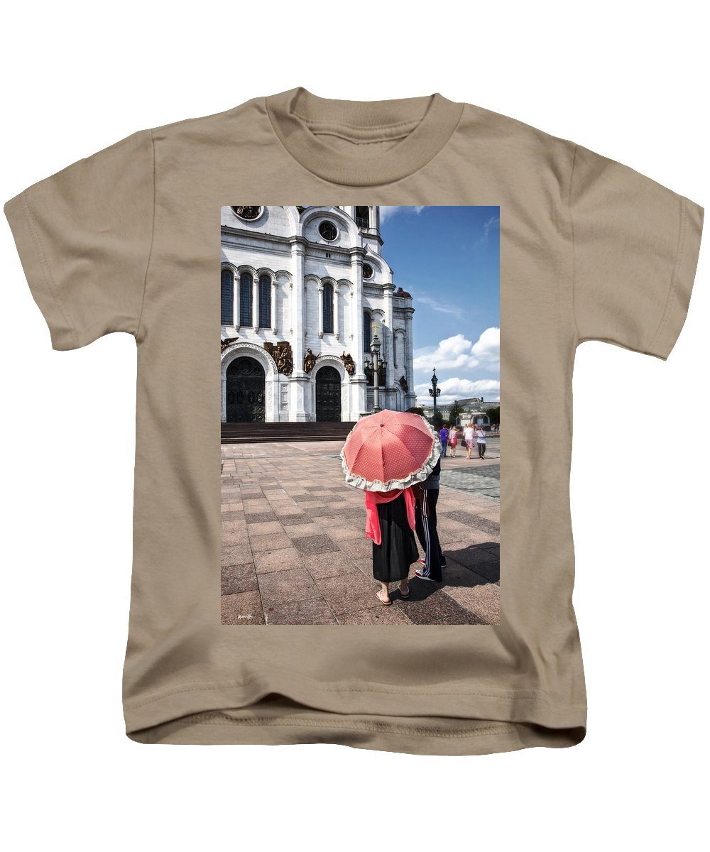Moscow Kids T-Shirt featuring the photograph Woman With Umbrella - Moscow - Russia by Madeline Ellis